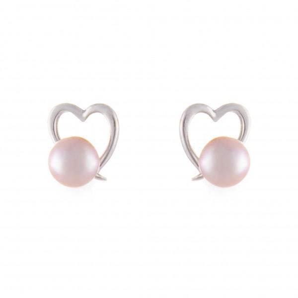 Herzförmige Perlenohrringe